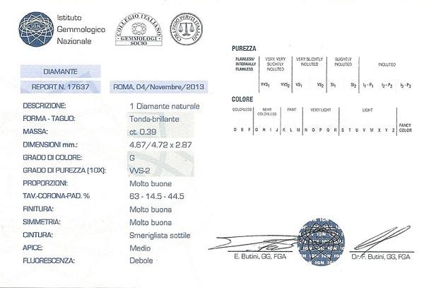 certificato diamante